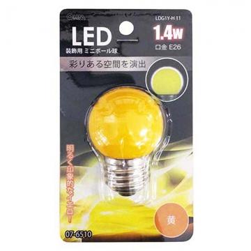 LED電球 装飾用 ミニボール E26 イエロー [品番]07-6510