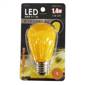 LED電球 装飾用 サイン球 E26 イエロー [品番]07-6513