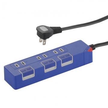 個別押しボタンスイッチ付き 節電タップ 3個口 1.5m ブルー [品番]00-1149