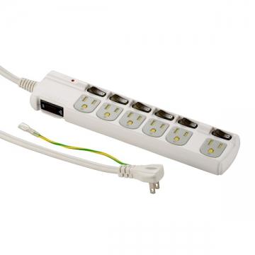 アース&雷ガード/3Pプラグ対応 個別スイッチ付き 節電タップ 6個口 1.8m [品番]00-1259