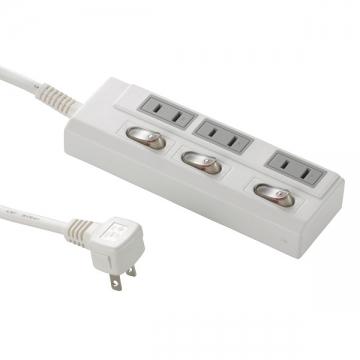 LED個別スイッチ付き 節電タップ 3個口 3m [品番]00-1964