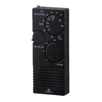 AM/FM 2バンド ポケットラジオ 黒 [品番]07-3791