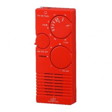 AM/FM 2バンド ポケットラジオ 赤 [品番]07-3792