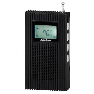 PLL内蔵 AM/FMポケットラジオ ブラック [品番]07-8051