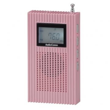 PLL内蔵 AM/FMポケットラジオ ピンク [品番]07-8053