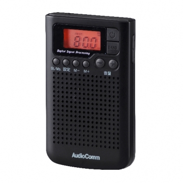 AudioComm DSP搭載 AM/FMポケットラジオ ブラック [品番]07-8157
