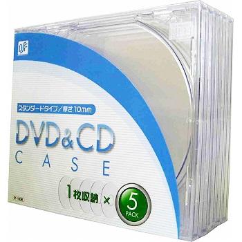 DVD&CDケース 厚さ10mm 5枚パック クリア [品番]01-1838