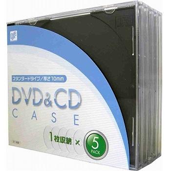 DVD&CDケース 厚さ10mm 5枚パック ブラック [品番]01-1839