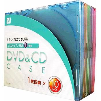 DVD&CDケース 厚さ5mm 10枚パック 5色 [品番]01-1840