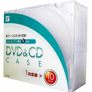 DVD&CDケース 厚さ5mm 10枚パック クリア [品番]01-1841
