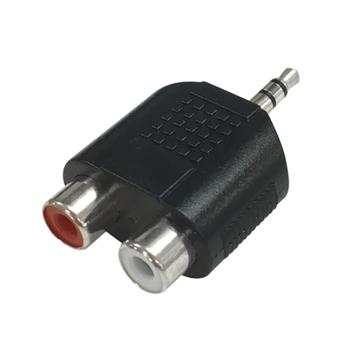 変換アダプター RCAピンジャックX2-φ3.5ステレオミニプラグ [品番]01-3042