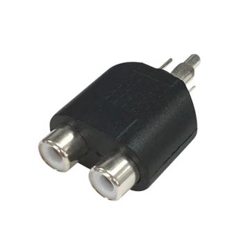 2口変換アダプター RCAピンジャックx2-RCAピンプラグ [品番]01-3043