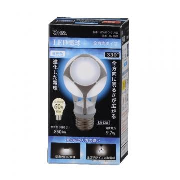 LED電球 60W相当 E26 昼光色 全方向 密閉器具対応 [品番]06-1608