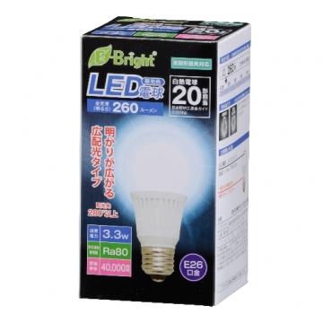 LED電球 20形相当 E26 昼光色 広配光 密閉器具対応 [品番]06-2881