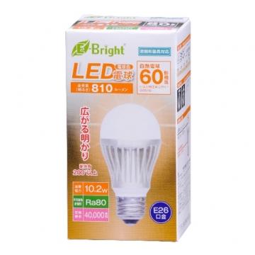 LED電球 60形相当 E26 電球色 広配光 密閉器具対応 [品番]06-2931