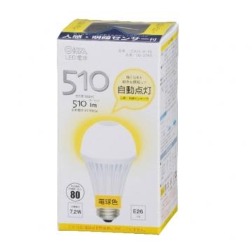 LED電球 E26 電球色 人感センサー [品番]06-3065