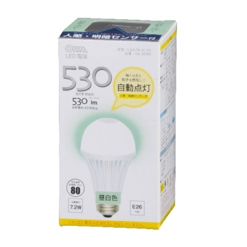LED電球 E26 昼白色 人感センサー [品番]06-3066