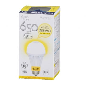 LED電球 E26 人感センサー 電球色 [品番]06-3067