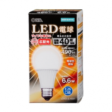 LED電球 40形相当 E26 電球色 広配光 密閉器具対応 [品番]06-3097