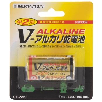 アルカリ乾電池 Vシリーズ 単2形×1本 [品番]07-2862