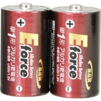 アルカリ乾電池 E force 単1形×2本パック [品番]07-2921