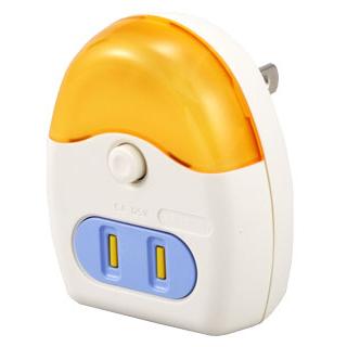 LEDナイトライト コンセント付 オレンジ 黄色LED [品番]04-0348