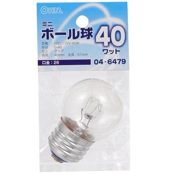 ミニボール球 G40 E26/40W クリア [品番]04-6479