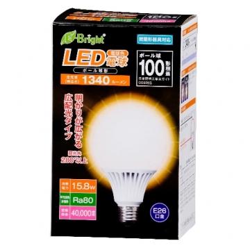 LED電球 ボール形 100形相当 E26 電球色 [品番]06-2937