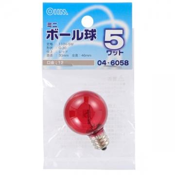 ミニボール球 G30型 E12/5W レッド [品番]04-6058