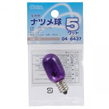 生地色 ナツメ球 E12/5W ピンク [品番]04-6437