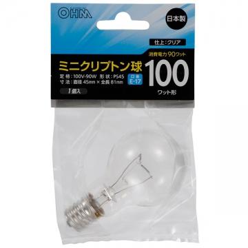 ミニクリプトン球 100形相当 PS-45 E17 クリア [品番]06-2969