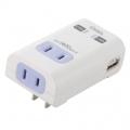 USB 2ポート2口タップ壁挿し [品番]00-1196