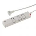 USB充電ポート付き 押しボタン節電タップ 3個口 1.5m ホワイト [品番]00-1426
