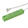USB充電ポート付き 押しボタン節電タップ 3個口 1.5m グリーン [品番]00-1428