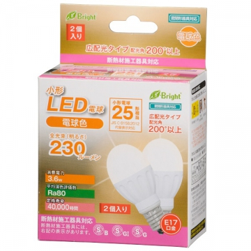 LED電球 小形 25W相当 E17 電球色 2個入 [品番]06-2943