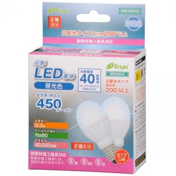 LED電球 小形 40形相当 E17 昼光色 2個入 [品番]06-2946