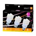 電球形蛍光灯 エコデンキュウ スパイラル形 E26 60形相当 電球色 3個入 [品番]04-0343