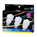 電球形蛍光灯 スパイラル形 E26 60形相当 昼光色 エコデンキュウ 3個入 [品番]04-0344