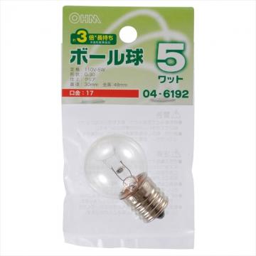 ボール球 G30型 E17/5W クリア [品番]04-6192