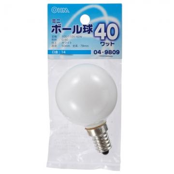 ミニボール球 G50 E14/40W ホワイト [品番]04-9809