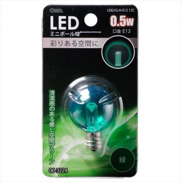 LEDミニボール G30型 E12/0.5W グリーン [品番]06-3224