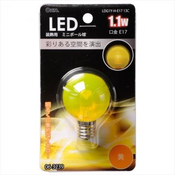 LED電球 装飾用 ミニボール E17 イエロー [品番]06-3239