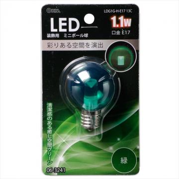 LEDミニボール G40型 E17/1.1W グリーン [品番]06-3241