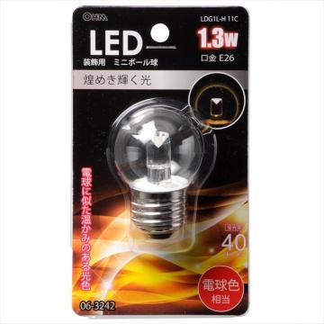 LEDミニボール G40型 E26/1.3W クリア 電球色 [品番]06-3242