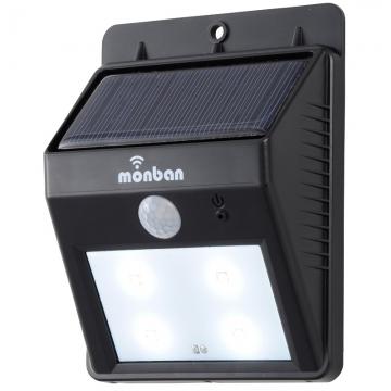 ソーラー発電式 LEDセンサーウォールライト ブラック [品番]07-8207