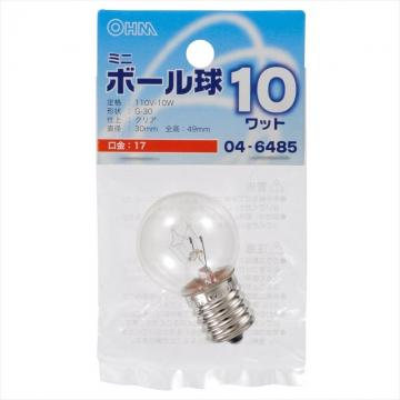 ミニボール球 G30型 E17/10W クリア [品番]04-6485