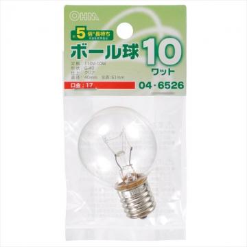 ボール球 G40型 E17/10W クリア [品番]04-6526