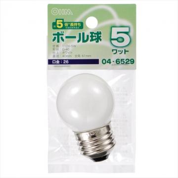 ミニボール球 G40型 E26/5W ホワイト [品番]04-6529