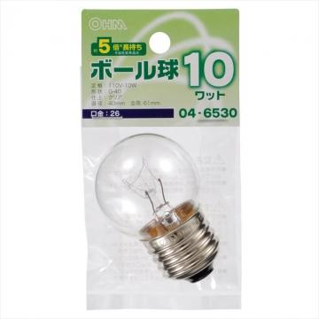 ミニボール球 G40 E26/10W クリア [品番]04-6530
