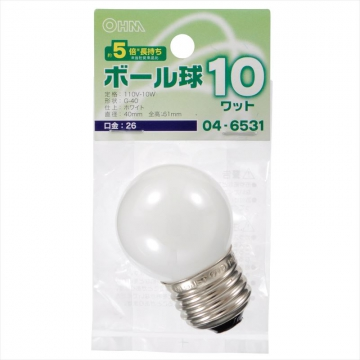 ミニボール球 G40型 E26/10W ホワイト [品番]04-6531